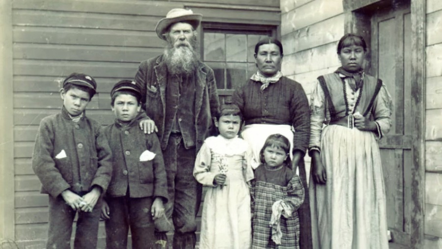 Metis family in Saskatchewan Canada 1867