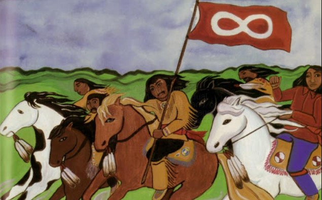 Metis are riding horses and holding Red Metis Flag